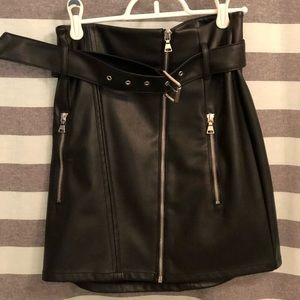 Express Leather Belted Moto Mini Skirt